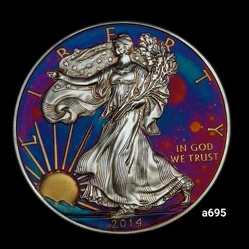 2014 Rainbow Toned Silver American Eagle 1 troy ounce silver Monster toned #a695