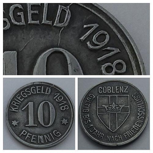 1918 GERMANY - COBLENZ 10 PFENNIG NOTGELD -- DIE CRACK ERROR