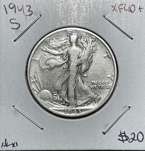 1943-S High Grade Fine/Very Fine Walking Liberty US Silver Half Dollar