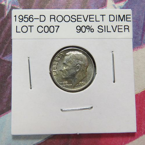 1956-D  ROOSEVELT DIME ~ 90% SILVER ~  VERY NICE ~ COMB SHIP ~ LOT C007