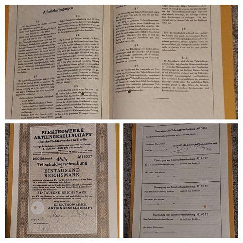 1937 GERMANY ELECTROWERKE 1000 MARK 4 1/2 % BOND CERTIFICATE