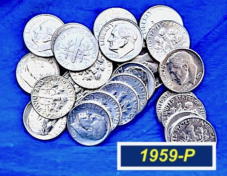 """1959-P DIME  ⭐️  """"AU-58"""" to """"MS-60""""  Condition  ⭐️  (3283)"""
