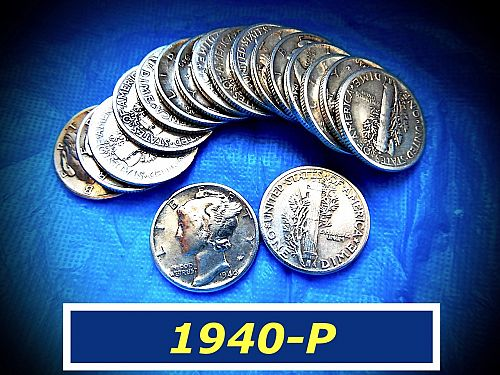 "1940-P  Mercury Dime   ⭐  Full Date  ⭐  ""VF-30/35""  ⭐ (#3257)"