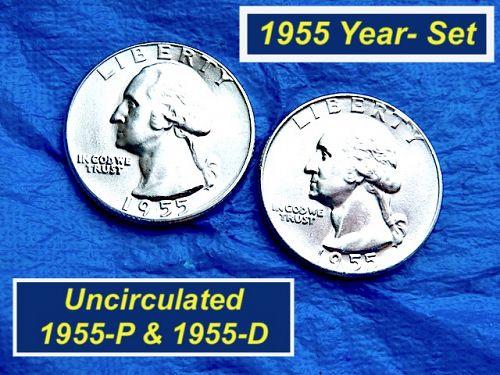 1955-P&D Year-Set 25¢ ⭐️ BU ⭐️ Two (2) BU Silver Quarters ⭐️ 2988a
