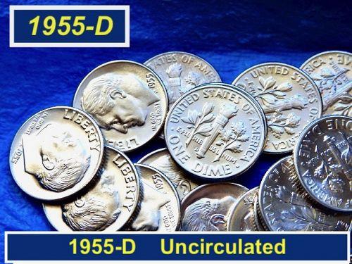 "1955-D Roosevelt Dime   ⭐️  ""BU"" from same Original Roll  ⭐️   (3358)"