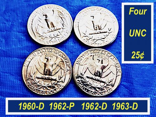4 Uncirculated Quarters ⭐️  From 1960  to  1963  ⭐️   (2.11)