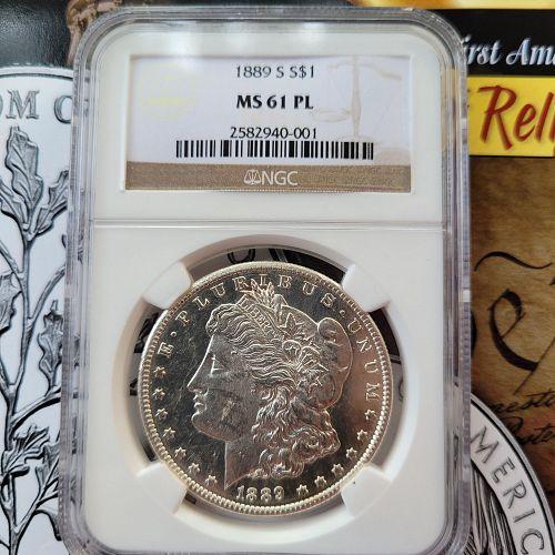 1889-S Morgan Silver Dollar NGC MS61PL