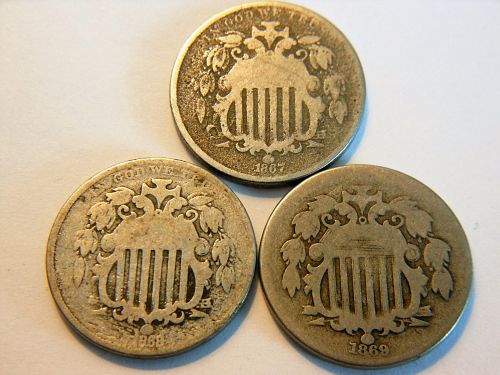 *Set of 3* 1867, 1868 & 1869 Shield Nickels
