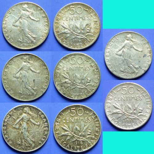 France French Francaise 4 pcs 50 Centimes 1916, 1917, 1918, 1919 km 854 Silver