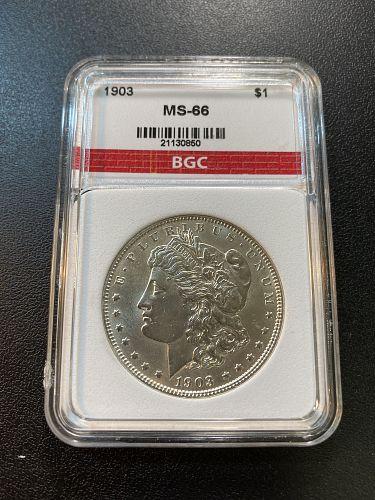 1903 MORGAN DOLLAR BGC MS-66 - UNCIRCULATED - BETTER DATE - CERTIFIED SLAB - $1