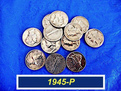 1945-P  Mercury Dime  ⭐ Full Date ⭐ Good Looking Mercury's ⭐ (3.12)