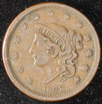 1838 Coronet Liberty Head Large Cent VF+