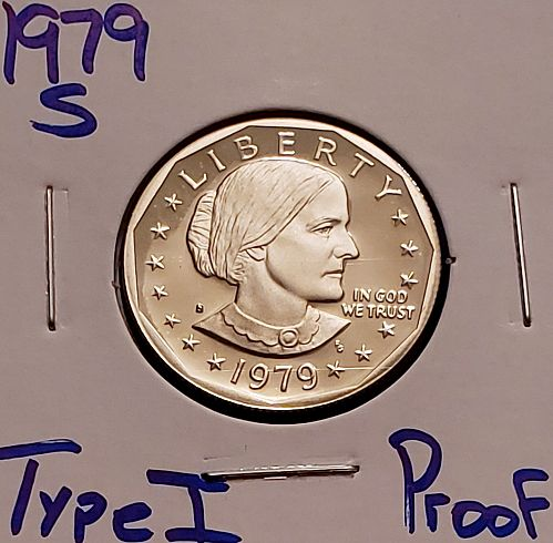 1979-S Susan B Anthony Dollar : Type 1 - Filled S - Proof
