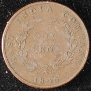 1845 Straits Settlements Cent VG