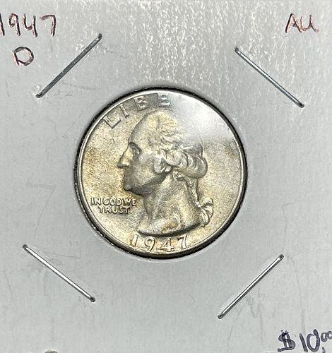 1947-D High Grade Almost Uncirculated AU50+ Washington US Silver Quarter