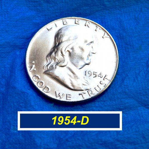 """1954-D Franklin Half Dollar ⭐ Mint State """"BU"""" ⭐  (1.28)"""