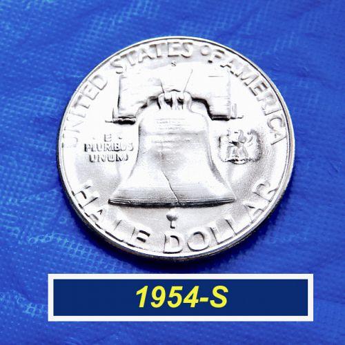 """🇺🇸1954-S  """"BU"""" Franklin Half ⭐️ Mint Luster ⭐️ MS-64+⭐️ (1.30)"""