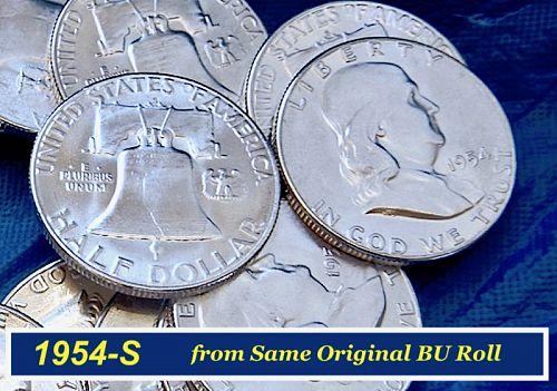 """🇺🇸1954-S  """"BU"""" Franklin Half ⭐️ Mint Luster ⭐️ MS-64+⭐️ (1836)"""