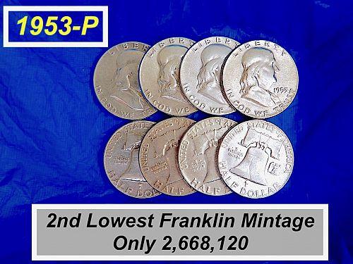 """1953-P  Franklin   ⭐️  Very Low Mintage  ⭐️ """"VF"""" Grade  ⭐️  (R1350)"""