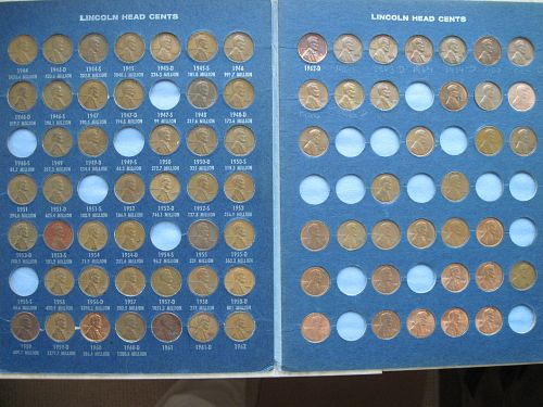 Lincoln Head Cent, 110 Coins, in TWO Harris & Co. Folders, 1909-1943 & 1944-1986