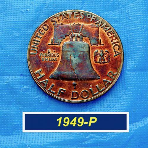 "1949-P Franklin ⭐ ""XF""  Copper/Blue Toned Reverse   ⭐ (1.15)"