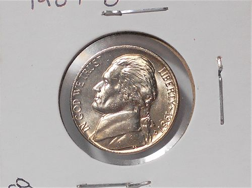 1987 D Uncirculated Jefferson nickel from mint set 87-02