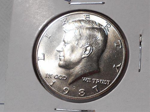 1987 D Uncirculated Kennedy half dollar from mint set