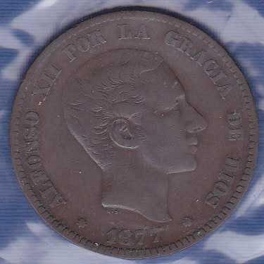 Spain 10 Centimos 1877