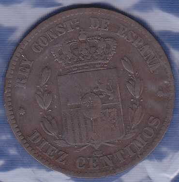 Spain 10 Centimos 1877 (144 years old)