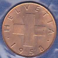 Switzerland 1 Rappen 1958