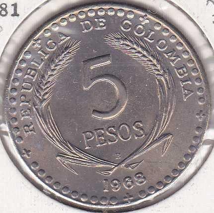 Colombia 5 Pesos 1968