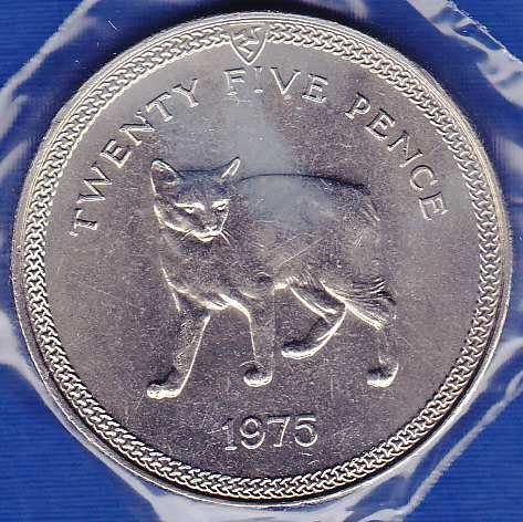 Isle of Man 25 New Pence 1975