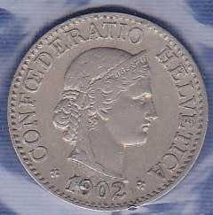 Switzerland 10 Rappen 1902B