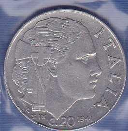 Italy 20 Centesimi 1941