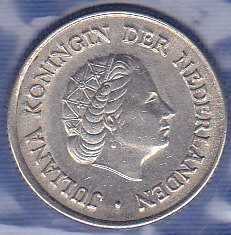 Netherlands 25 Cents 1958