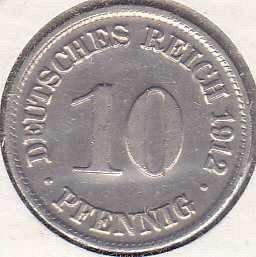 Germany 10 Pfennig 1912D