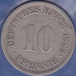 Germany 10 pfennig 1889F