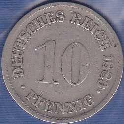 Germany 10 pfennig 1889F