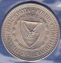 Cyprus 25 Mils 1963