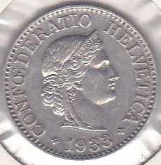 Switzerland 10 Rappen 1933B
