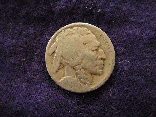 1925-S Buffalo Nickel Fine-15+ Very Strong Reverse but Weak Obverse!