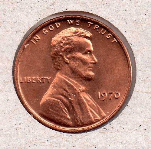 1970 p Lincoln Memorial Penny - UNC - #2