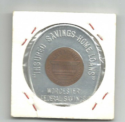 WORCHESTER FEDERAL SAVINGS ENCASED 1964 LINCOLN CENT