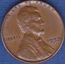 1957 P Lincoln Wheat Cent
