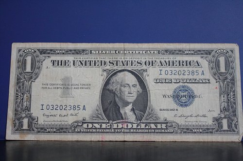 1957A USA ONE DOLLAR SILVER CERTIFICATE