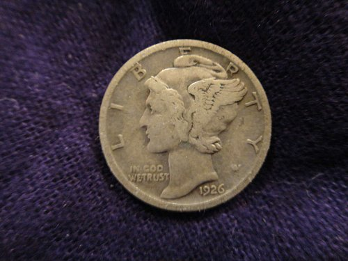 1926-S Mercury Dime Very Fine-20 Nice Olive Grey Patina With Minimal Marks!