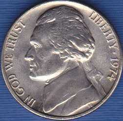 1974 P  Jefferson Nickel Full Steps