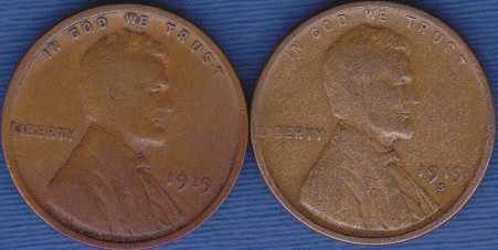 1919 S & 1919 P Lincoln Wheat Cents