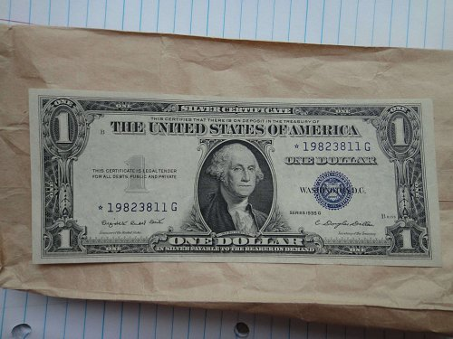 1935-G WITH MOTTO (STAR NOTE) $1 Silver Certificate CU-63