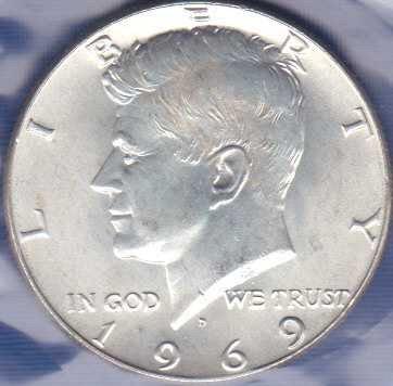 1969 D Kennedy Half Dollar 40% Silver